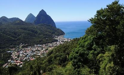 The mountains that make up St. Lucia rise from the sea.