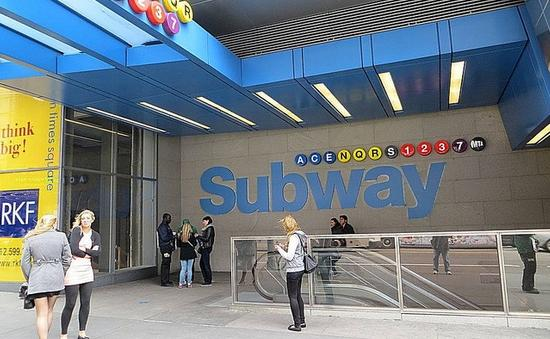 Port Authority Bus Terminal subway station entrance in New York City