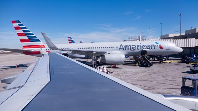 American Airlines plane refueling at Phoenix Sky Harbor International Airport