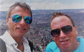 Carl Howard (right) with business partner Jim Field in Bogota, Colombia at Monteserrate