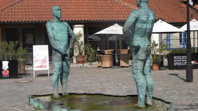 The Peeing Statues by Cerny in Prague, Czech Republic
