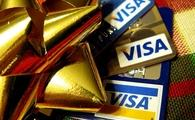 Visa cards and gift ribbon