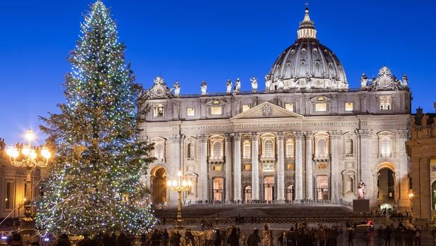 Christmas tree in St Peter's Square in Rome