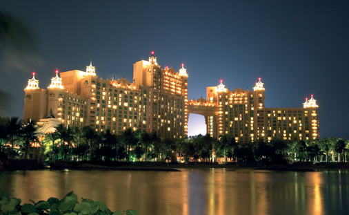 Royal Towers Lit up at night, Atlantis