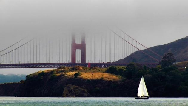 A fog-enshrouded Golden Gate Bridge