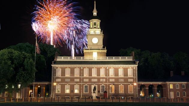 Fireworks over Independence Hall in Philadelphia