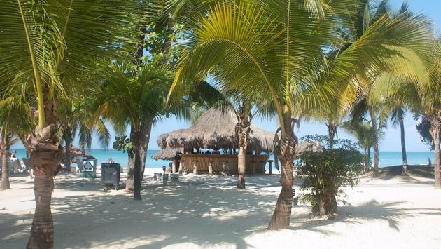 Tiki bar on the beach in Negril, Jamaica