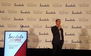Sandals CEO Adam Stewart addresses the audience at SANDALS OVERDRIVE in Toronto.