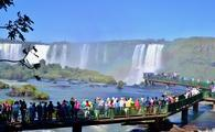 Tourists Visiting Iguazu Falls, Brazil