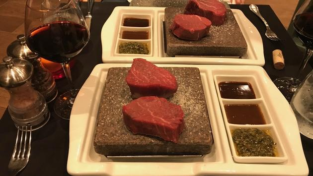 Steak dinner at Rock Grill on the Grand Classica with Bahamas Paradise Cruise Line