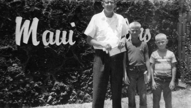 Pal Anderson and sons Van and Brad in Maui in 1962.