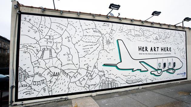 Her Art Here, United Airlines, contest, mural, plane