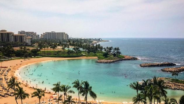 View of O'ahu's Ko Olina and surrounding area