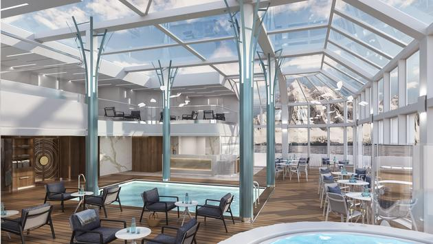 The two-level pool deck onboard the Crystal Endeavor is enclosed by glass.