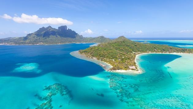 Bora Bora viewed from a helicopter