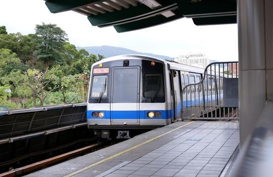 Mass Rapid transit arriving at the platform in Taipei Taiwan