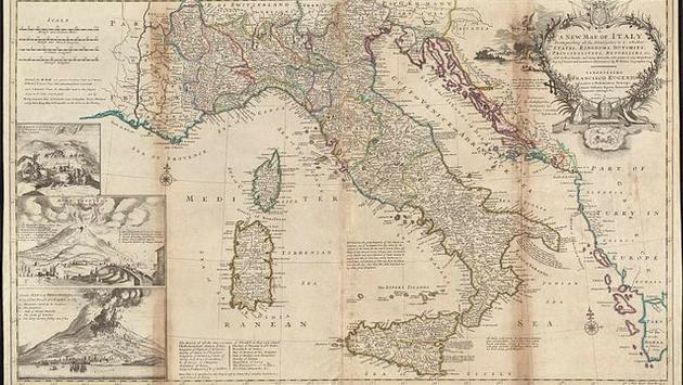 Map of Italy created in 1714