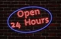 24-hour dining neon sign