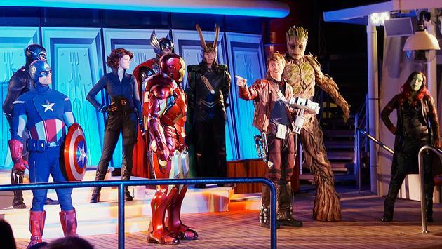 Marvel Heroes Unite deck show aboard Disney Cruise Line's Disney Magic