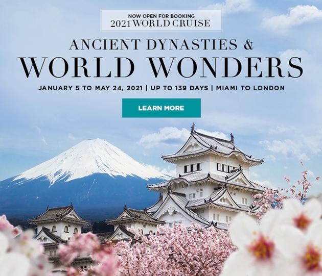 NOW OPEN FOR BOOKING: 2021 WORLD CRUISE