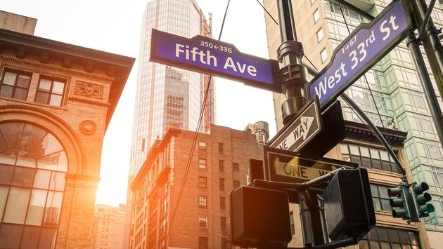 Fifth Ave and West 33rd sign in New York City