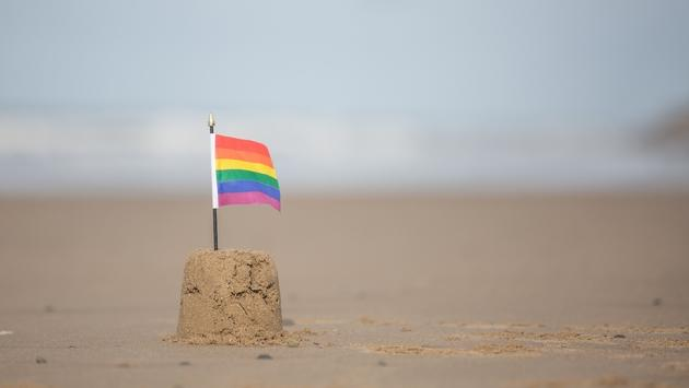 Rainbow flag planted in a sand castle.