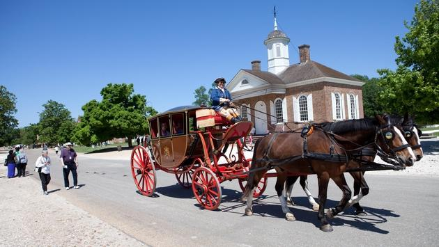 A carriage ride through Colonial Williamsburg