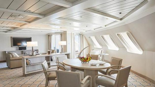 Suite onboard Silversea's newly converted Silver Cloud expedition ship