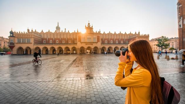 Female tourist in the center of Krakow
