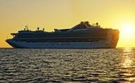 Cruise ship during sunset