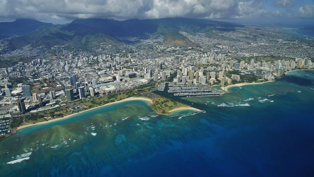 Aerial shot of Waikiki and the surrounding area