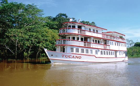 The Tucano, a three-story vessel owned by Amazon Nature Tours