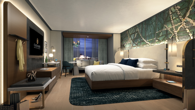 A rendering of a room at Harrah's Atrium Tower