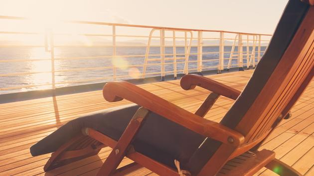 Deck chair on a cruise ship on the promenade deck