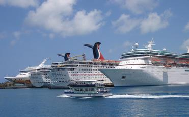 A row of cruise ships docked in Nassau, Bahamas