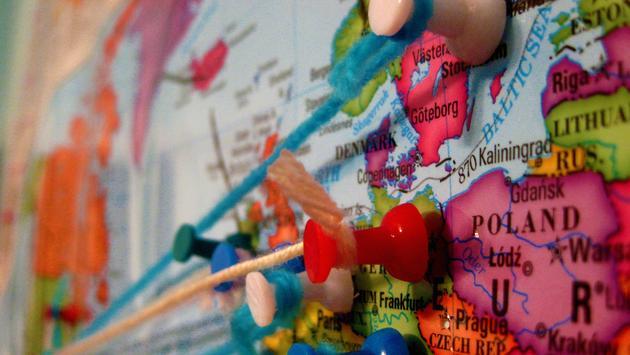 Pinned world map