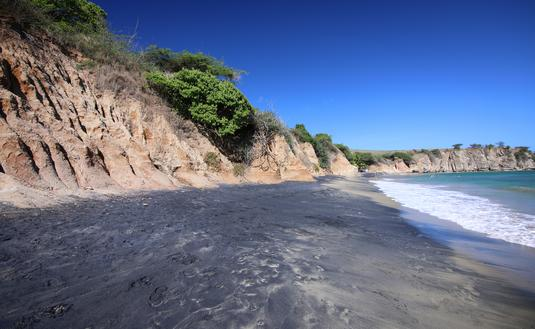 black beach, volcano, Vieques