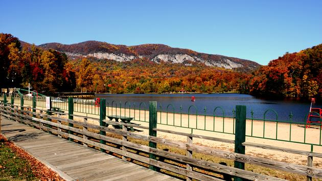Lake Lure, North Carolina during fall leaf season