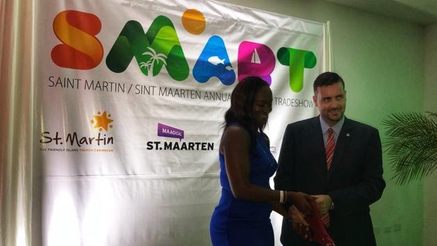 Valérie Damassau et Stuart Johnson de Tourisme Saint-Martin