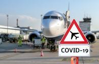 Coronavirus sign at airport.
