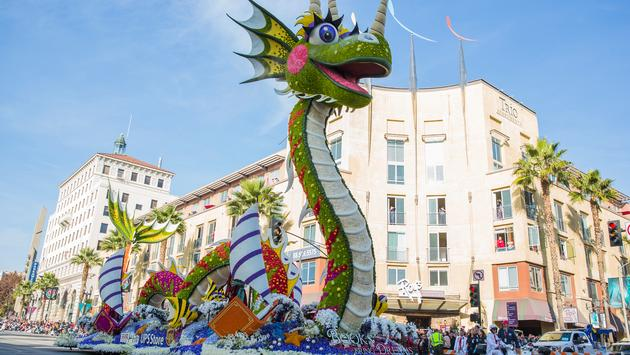 A dragon float from the Rose Parade
