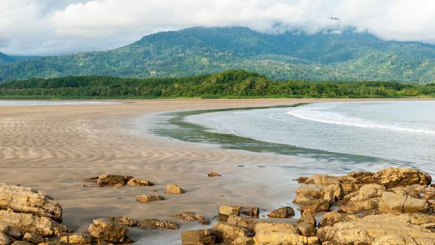 Uvita, Costa Rica, beach, mountains