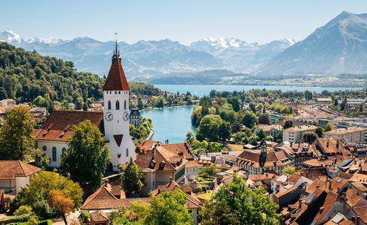 Thun, Switzerland, town, mountains