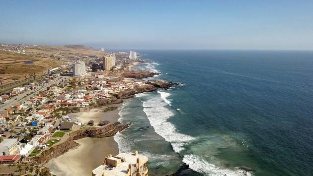 A beautiful drone view of Rosarito Beach on the Baja Peninsula in Mexico