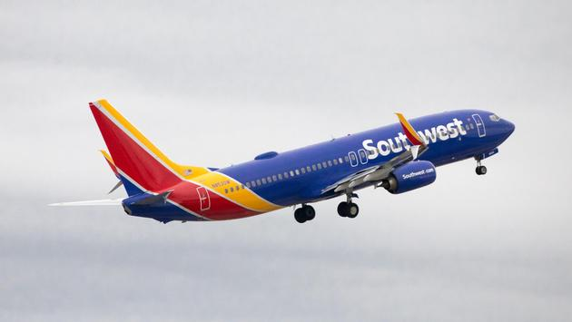 A Southwest Airlines plane taking off