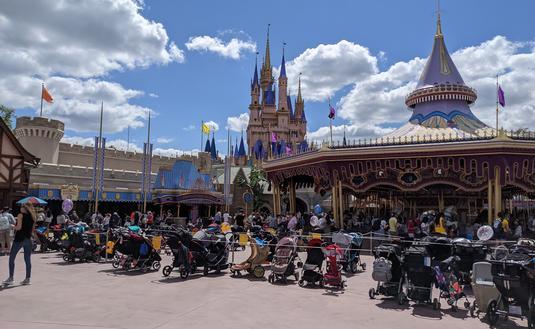Stroller parking in Fantasyland at Walt Disney World's Magic Kingdom