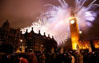Fireworks over Big Ben at midnight on New Year's Eve