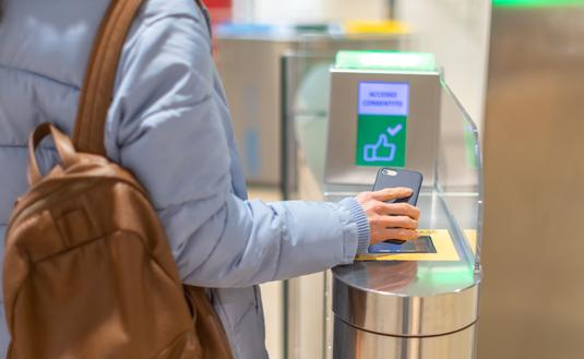 Electronic boarding pass and passport control in the airport.