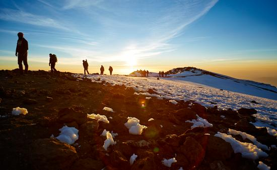 Hikers on the Mt. Kilimanjaro route to the summit