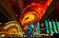 The new, $32-million upgraded Viva Vision overhead video screen above Fremont Street in Downtown Las Vegas.